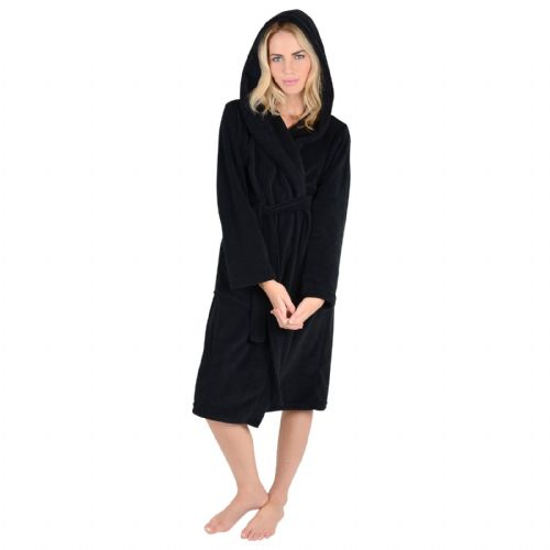 LADIES BLACK COLOUR LUXURY SOFT FLEECE MICROFIBRE HOODED BATHROBE DRESSING GOWN